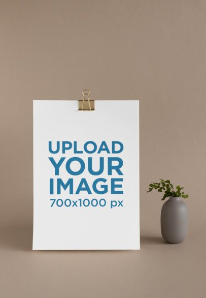 Letterhead Mockup of an A4 Paper Standing Next to a Small Plant 27229