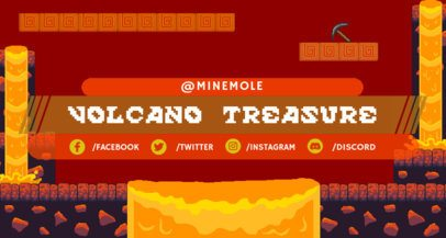 Twitch Banner Template for Retro Adventure Games 1450c