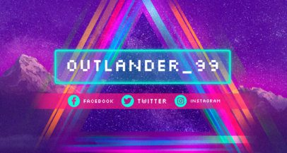 Twitch Banner Template with Retro Neon Lights 1502g