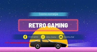 Retrowave Twitch Banner Maker Featuring a Car Riding into the Sunset 1502k