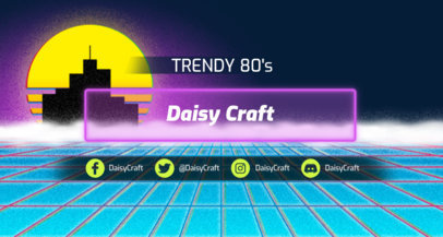Synthwave Aesthetic Twitch Banner Maker with an Abstract Open Ocean 1502l