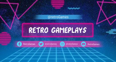 Retrowave Twitch Banner Template with Neon Shapes 1502m