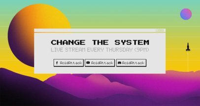 Cool Twitch Banner Maker Featuring a Retrowave Sun Scenario 1503b