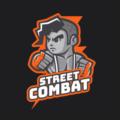 Gaming Logo Template Featuring a Street Combat Character 1872a