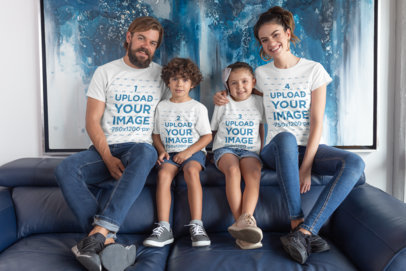 Mockup of a Beautiful Family Wearing T-Shirts in Their Home 28055