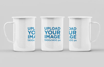 Mockup of Three 21 Oz Enamel Mugs in Different Positions 27880