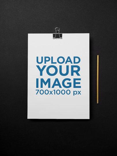 Minimalist A4 Flyer Mockup with a Black Background 27205
