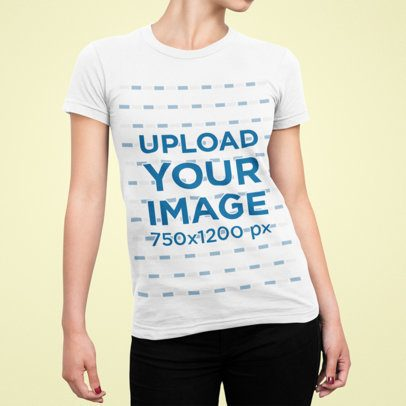 T-Shirt Mockup of a Woman Posing with Cropped Face 87-el