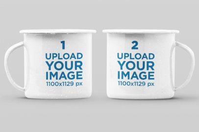 Mockup of Two 12 oz Enamel Mugs in a Minimalist Setting 28269