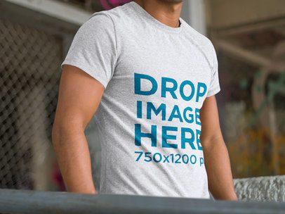 Young Man at a Skate Park T-Shirt Mockup a6098