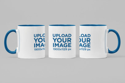 Mockup of the front view of Two Toned 11 oz Mug in Different Angles 27885