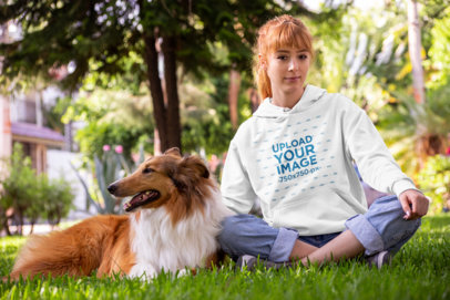 Pullover Hoodie Mockup Featuring a Woman in a Park with Her Dog 28042