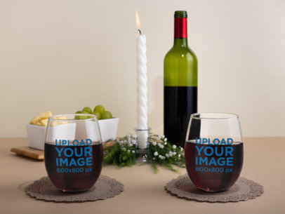 Mockup of Two Stemless Wine Glasses On a Cozy Table Setting 27939