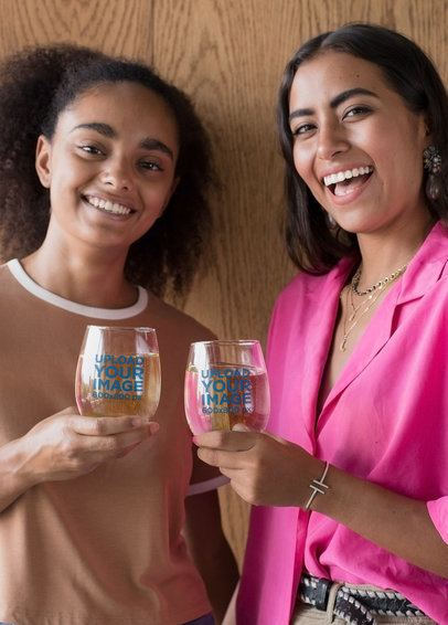Stemless Wine Glass Mockup Featuring Two Smiling Women 27948