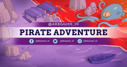 Twitch Banner Template with a Pirate Fantasy Setting 1454a