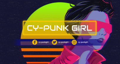 Twitch Banner Maker Featuring a Cyberpunk Girl 1502p