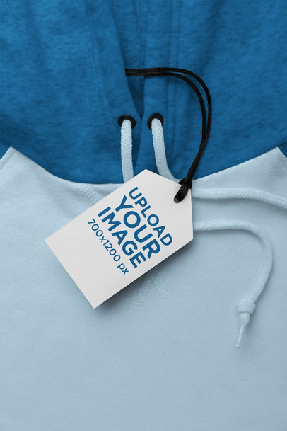 Mockup of a Brand Tag Attached to a Pullover Hoodie 27663
