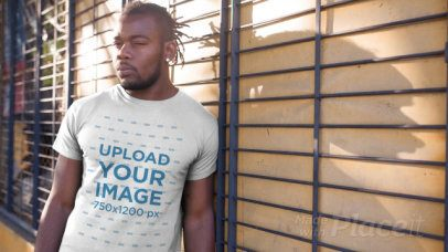 T-Shirt Video of a Man with a Strong Look on the Street 12238