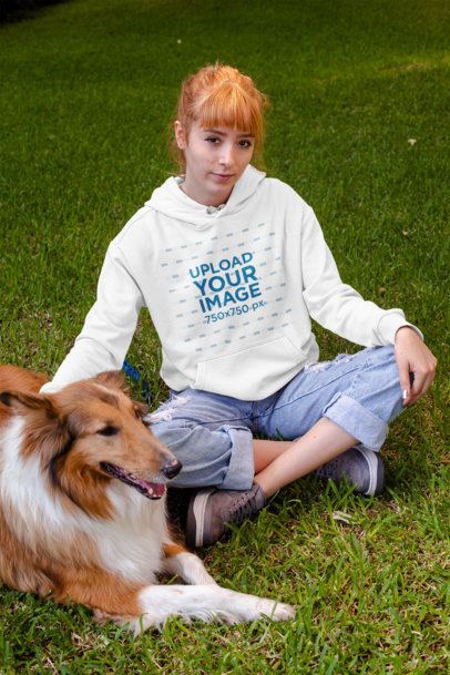 Pullover Hoodie Mockup of a Woman with Her Dog