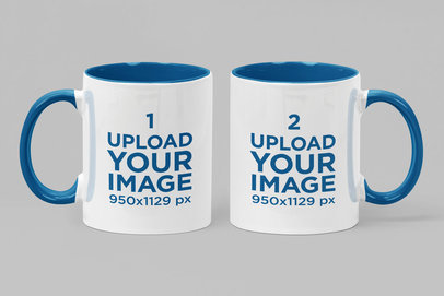 Mockup of Two Different Two Toned Mugs Standing Side by Side 28261