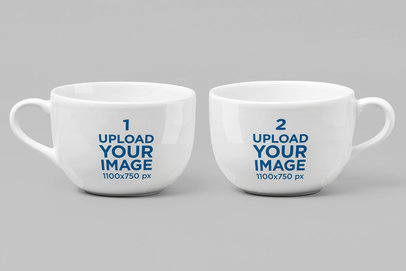 Mockup of Two 11 oz Mugs Standing Side by Side 28262