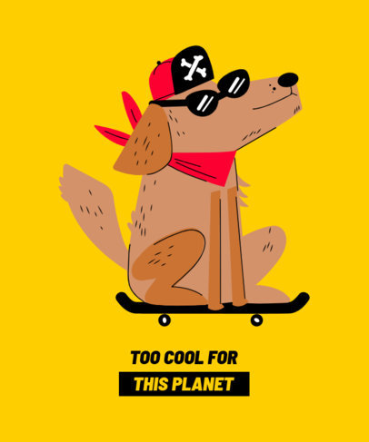 T-Shirt Design Template Featuring a Dog on a Skateboard 1512e