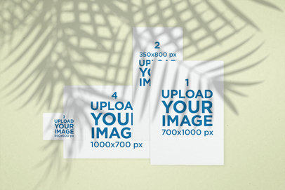 Mockup of a Set of Flyers with Palm Leaves Shadows 173-el