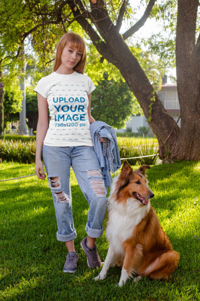 Shirt Mockup of a Red-Haired Woman Walking with Her Dog at a Park 28045