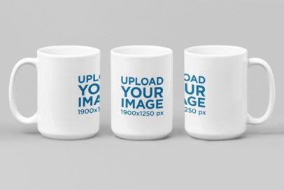 Mockup of Three 15 oz Coffee Mugs in Different Perspectives 27887