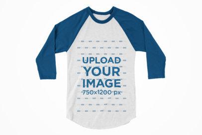 Raglan Long Sleeve T-Shirt Mockup Against a Plain Background 122-el