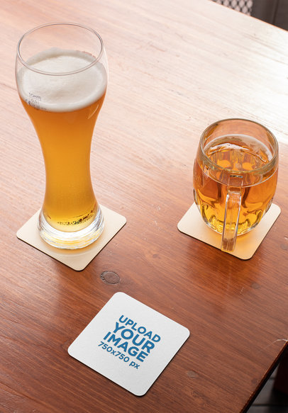 Squared Coasters Mockup Featuring a Wooden Table 27810