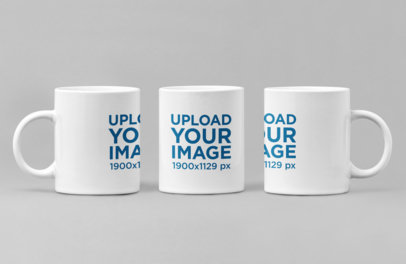 Mockup of an 11 oz Coffee Mug from Three Different Angles 27883