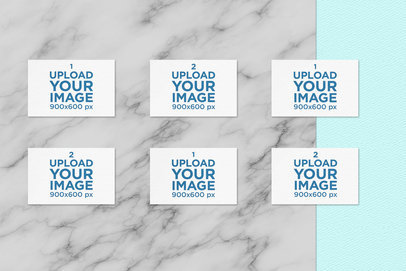 Mockup of Business Cards Aligned over a Marble-Like Surface 169-el