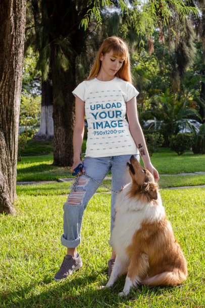 T-Shirt Mockup of a Woman Petting Her Dog at a Park 28046