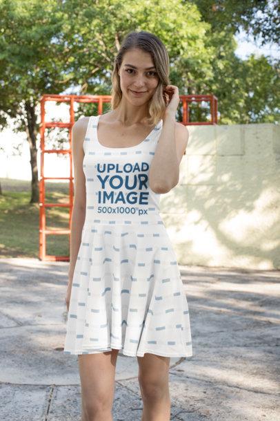 Dress Mockup of a Woman Posing at a Park 27982