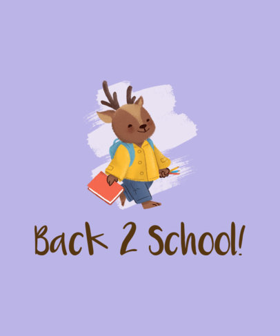 Back-To-School T-Shirt Design Generator Featuring a Smiling Reindeer Cartoon 1520g