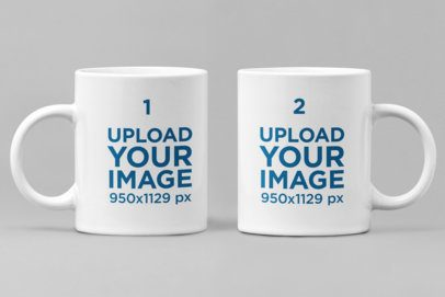 Minimal Mockup Featuring Two 11 oz Coffee Mugs Against a Plain Backdrop 28267