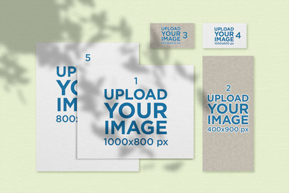 Stationery Mockup Featuring a Solid Color Background 177-el