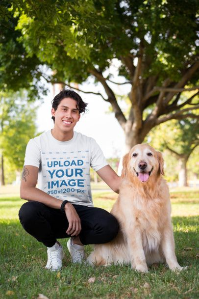 Shirt Mockup of a Man Crouching Next to His Dog 28049