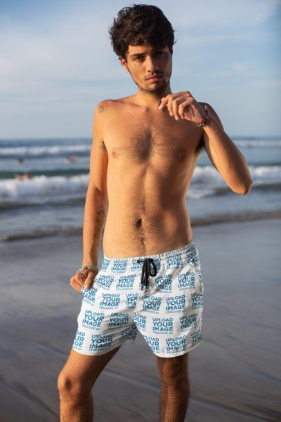 Mockup of a Man Wearing Swim Trunks at the Beach 28361