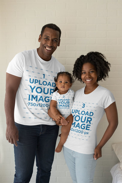 Mockup of Two Parents Wearing T-Shirts and Holding Their Baby in a Onesie 28066