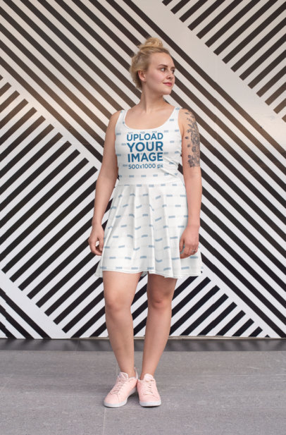 Dress Mockup of a Woman Standing in Front of a Striped Wall 28005