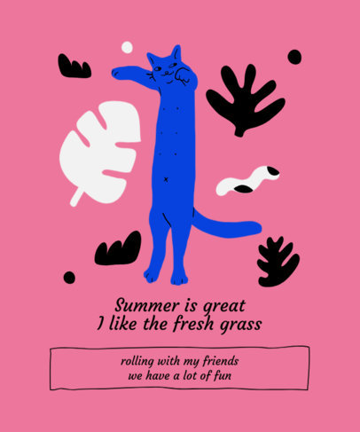 T-Shirt Design Creator Featuring a Stretching Cat 1519g