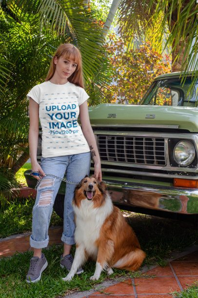 T-Shirt Mockup of a Woman with Her Dog Next to an Old Car 28047