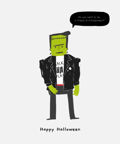 Halloween T-Shirt Design Maker Featuring a Frankenstein Clipart 1565