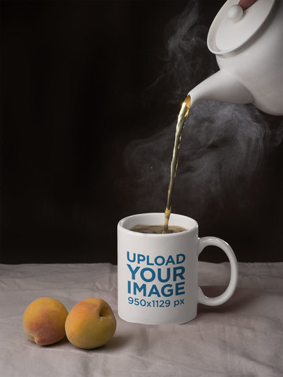 11 oz Mug Mockup Featuring a Teapot and Two Peaches 28185