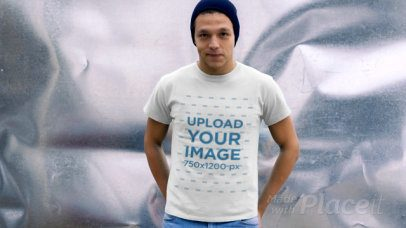 T-Shirt Video Featuring a Young Man Against a Metallic Background 13024