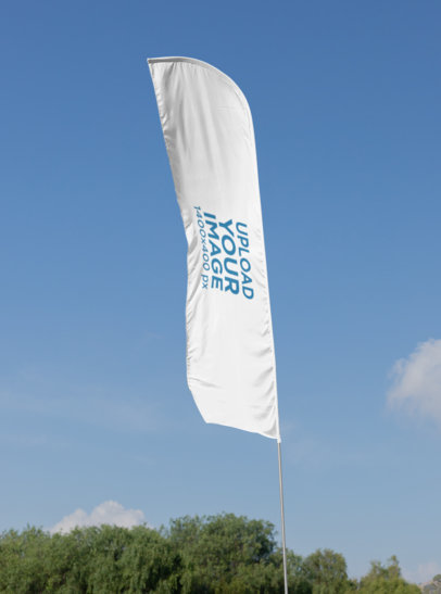 Mockup of a Flag Banner at a Park