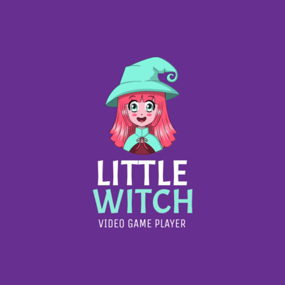 Gaming Logo Maker with a Happy Anime-Styled Witch Avatar 2294