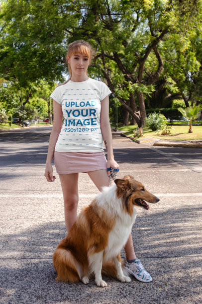 T-Shirt Mockup Featuring a Woman Taking Her Dog for a Walk